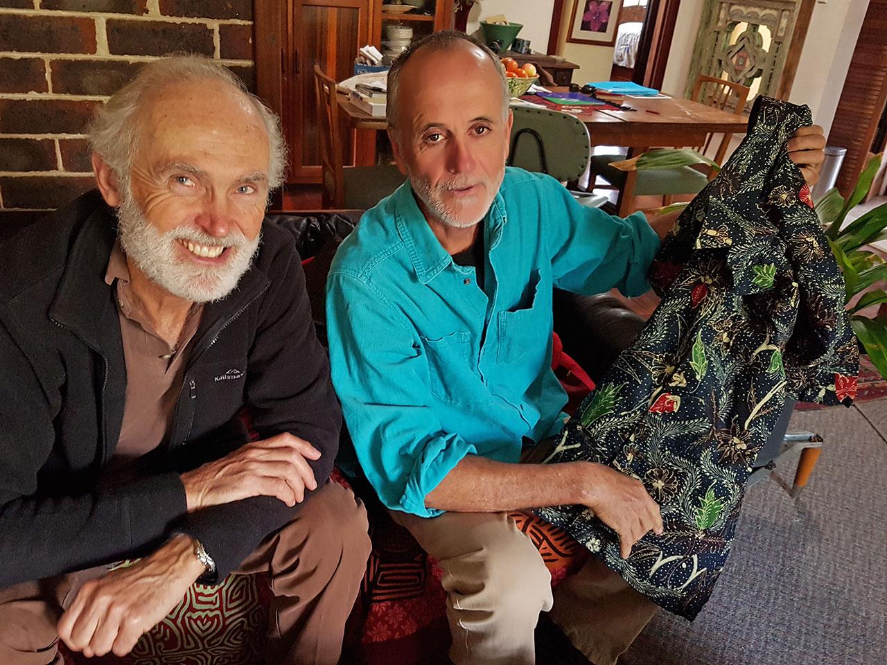 Two men in living room